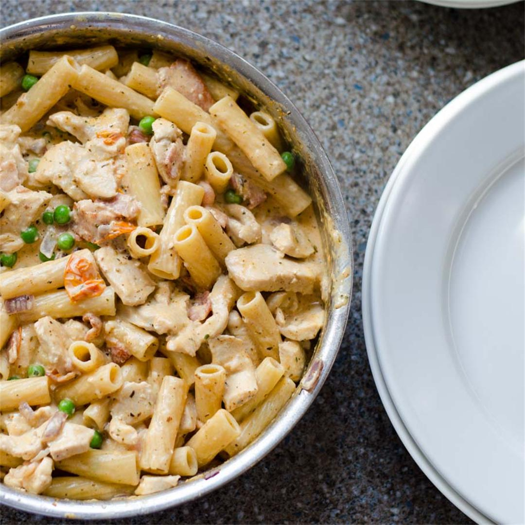Creamy Chicken, Smoked Bacon, Tomato and Pea Pasta
