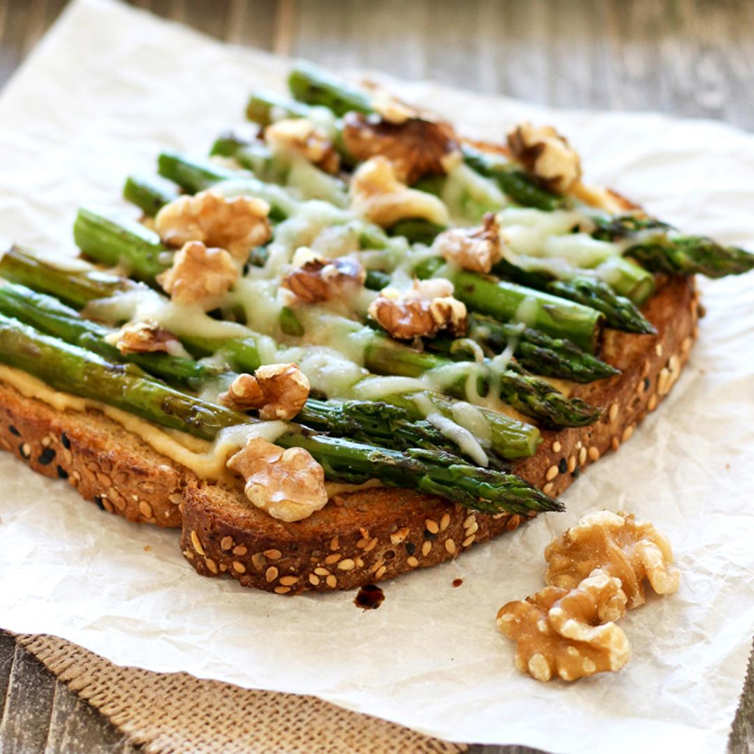 Balsamic Asparagus and Hummus Toast
