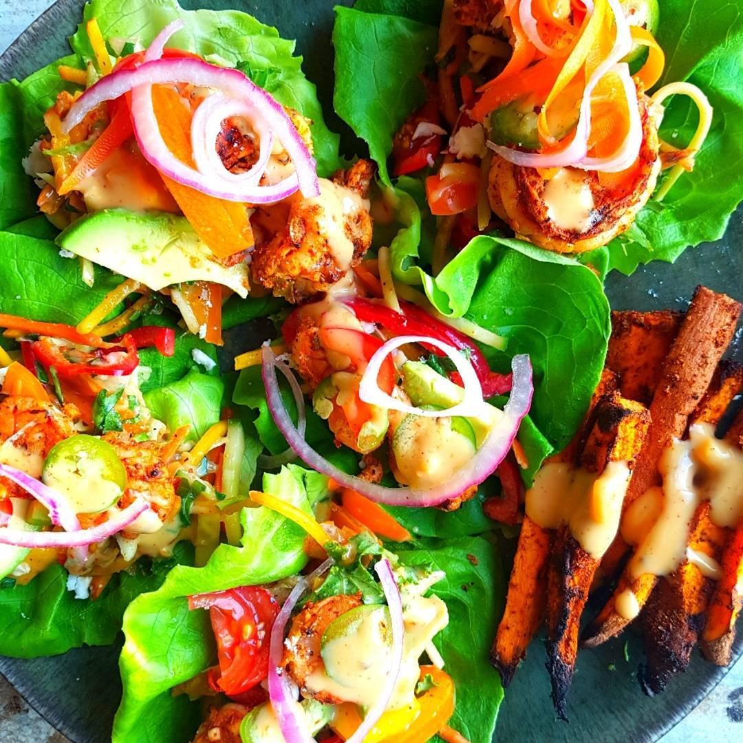 Shrimp Tacos with Jicama Mango Chili Lime Slaw