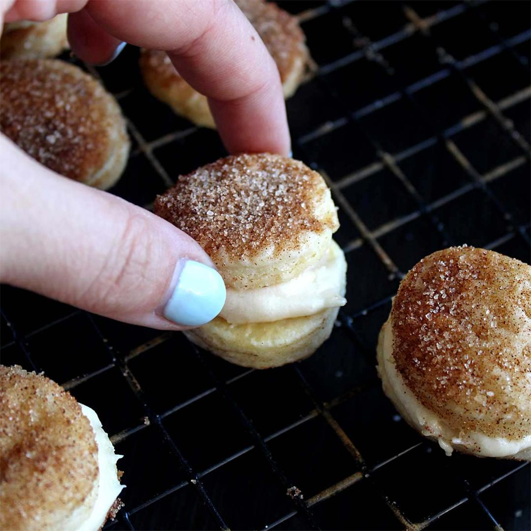 Churro Cookies with Caramel Cream Cheese Frosting!