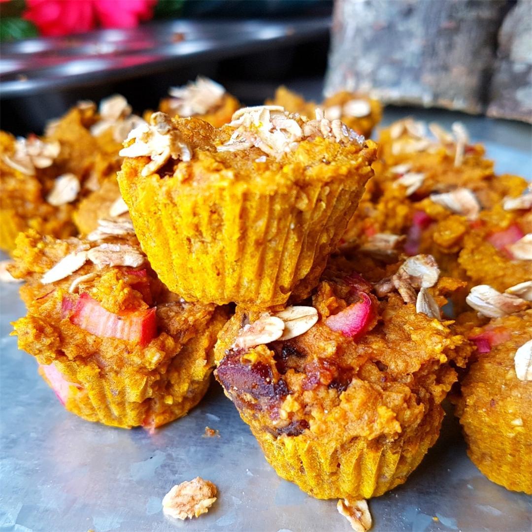 Banana Rhubarb Date Muffins