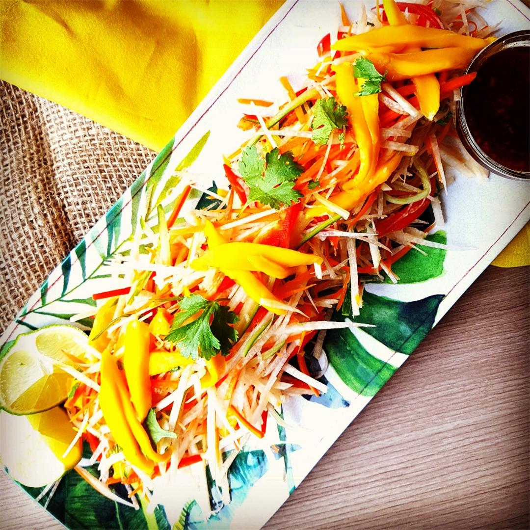 Mexican Jicama Mango Slaw with a Sweet Chili Lime Dressing