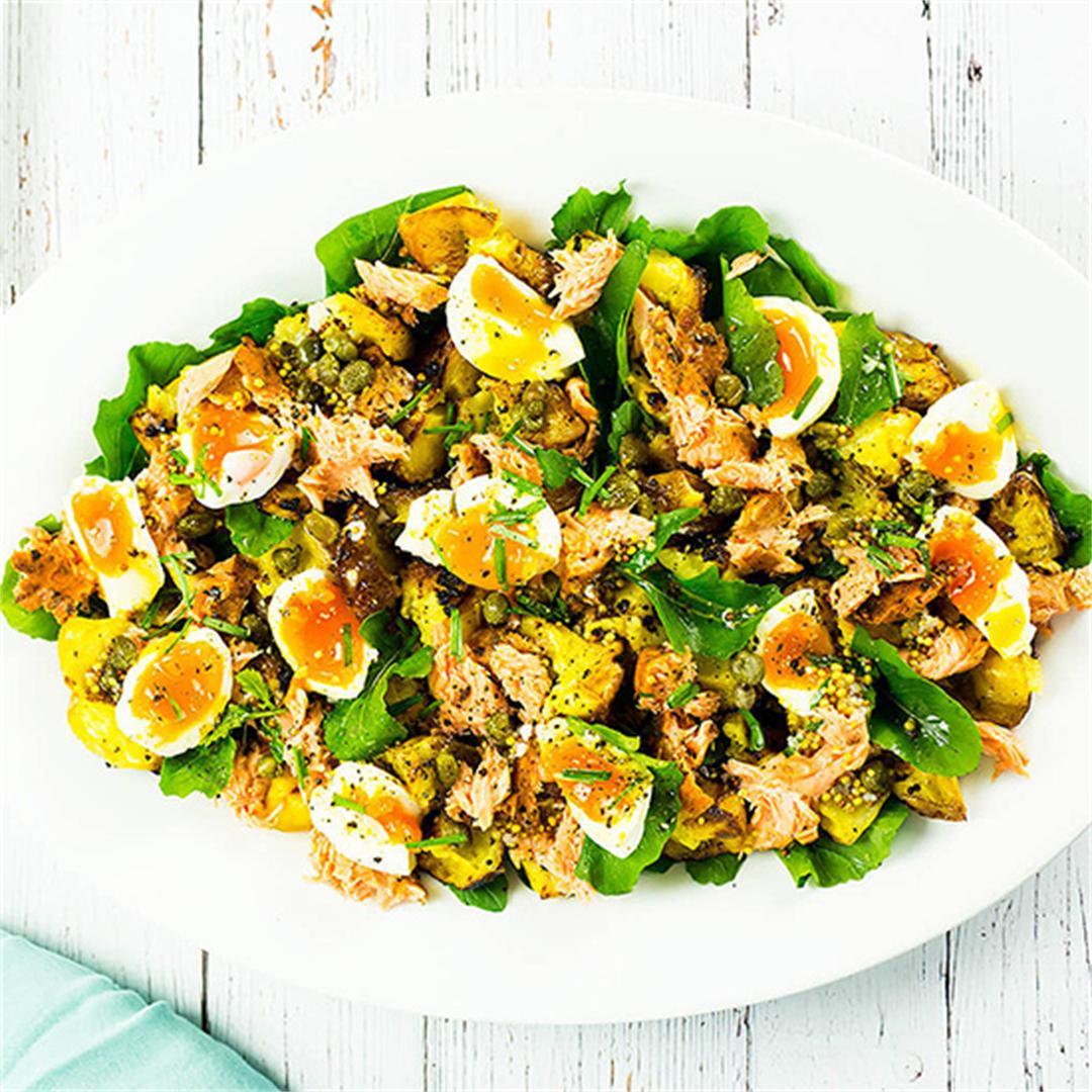 Hot Smoked Salmon Salad with Egg & Crispy Mustard Potatoes