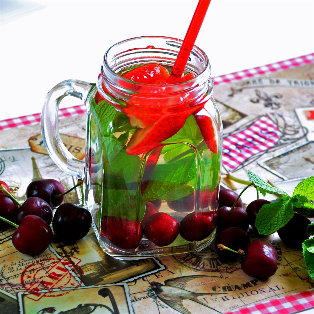 Detoxify With Cherry, Strawberry Detox Water.