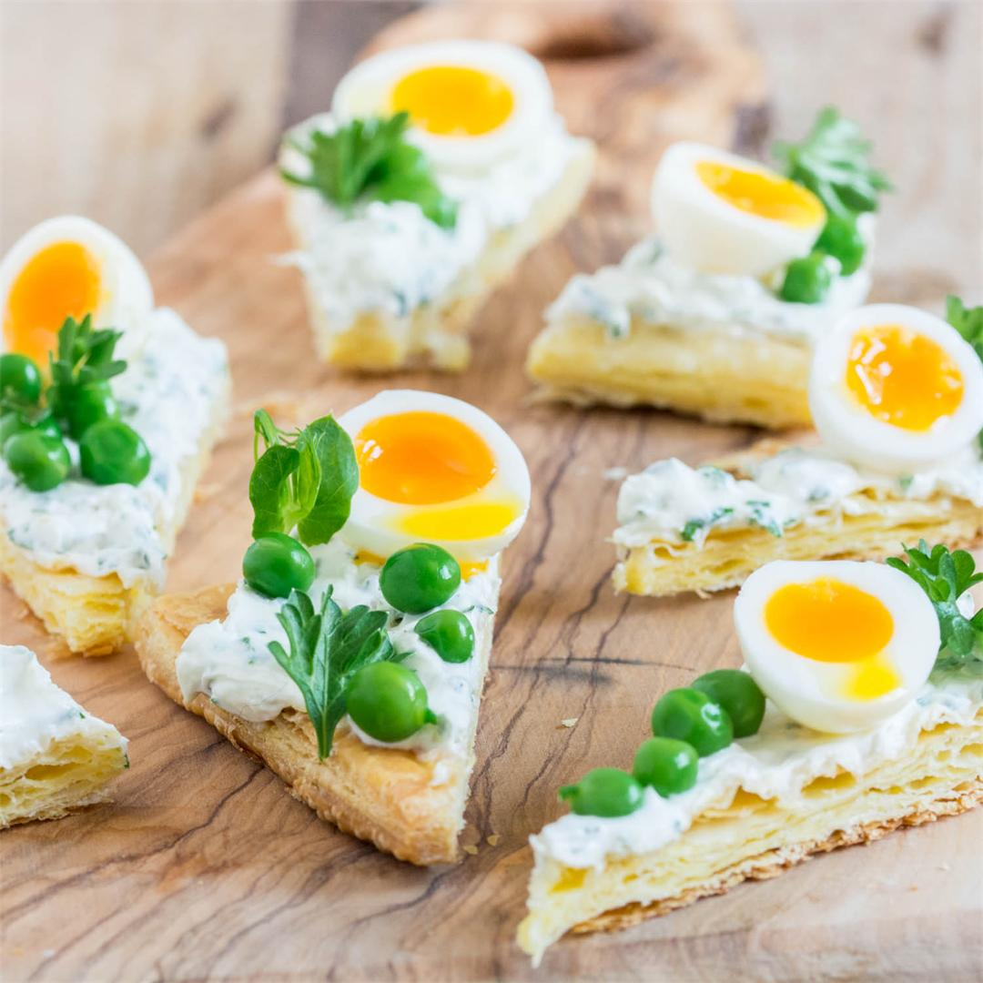 Goat Cream Cheese, Pea and Quail Egg Triangles