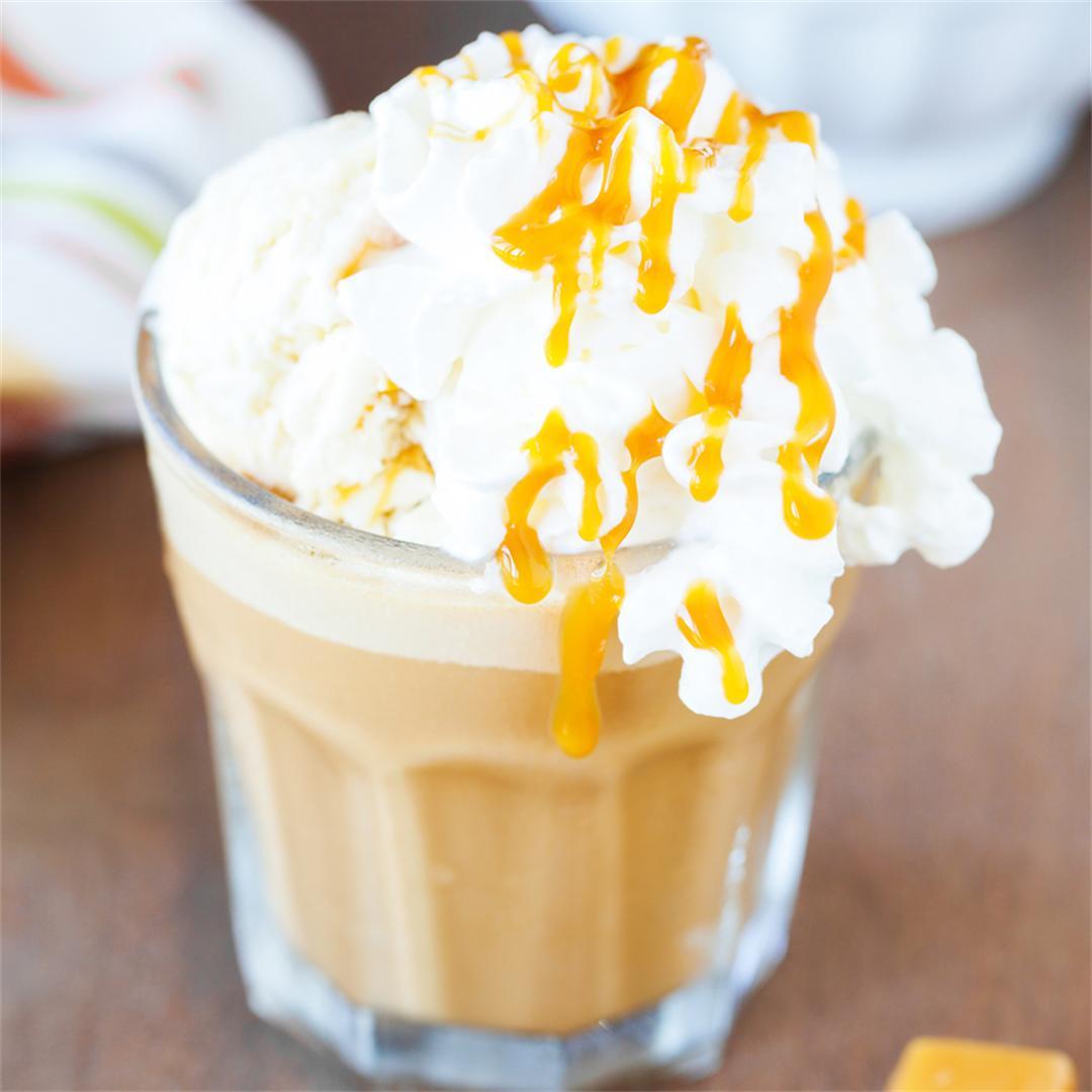 French Vanilla and Caramel Affogato Frappe