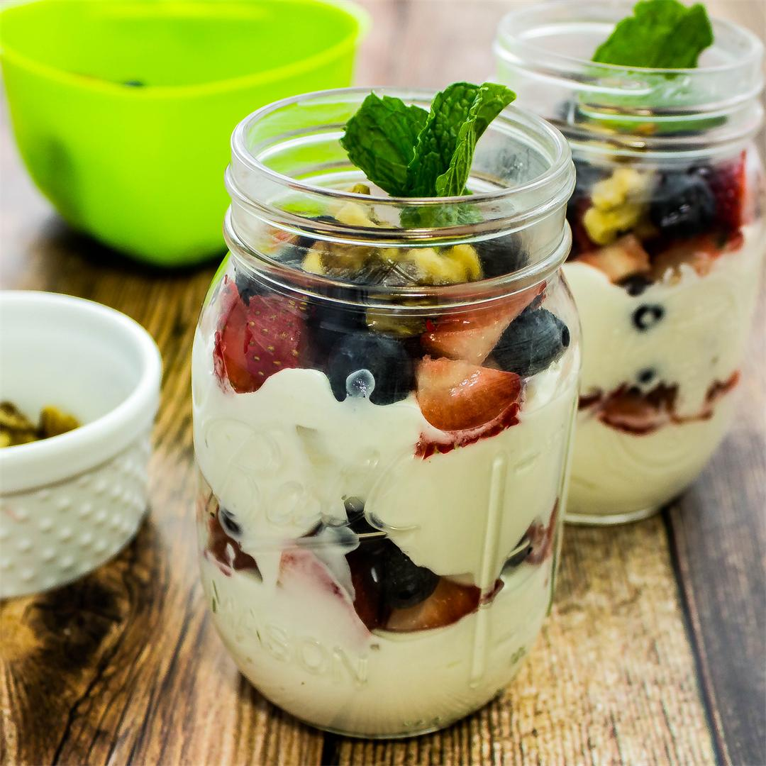 Red White & Blueberry Yogurt Trifle- Easy & Weight Watchers