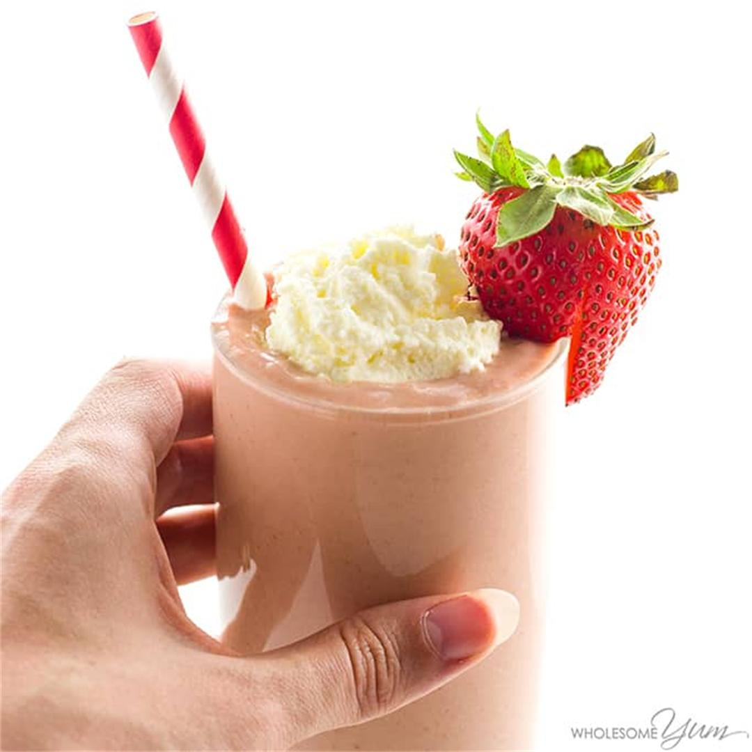 Low Carb Strawberry Smoothie (Keto, Paleo, Sugar-Free)