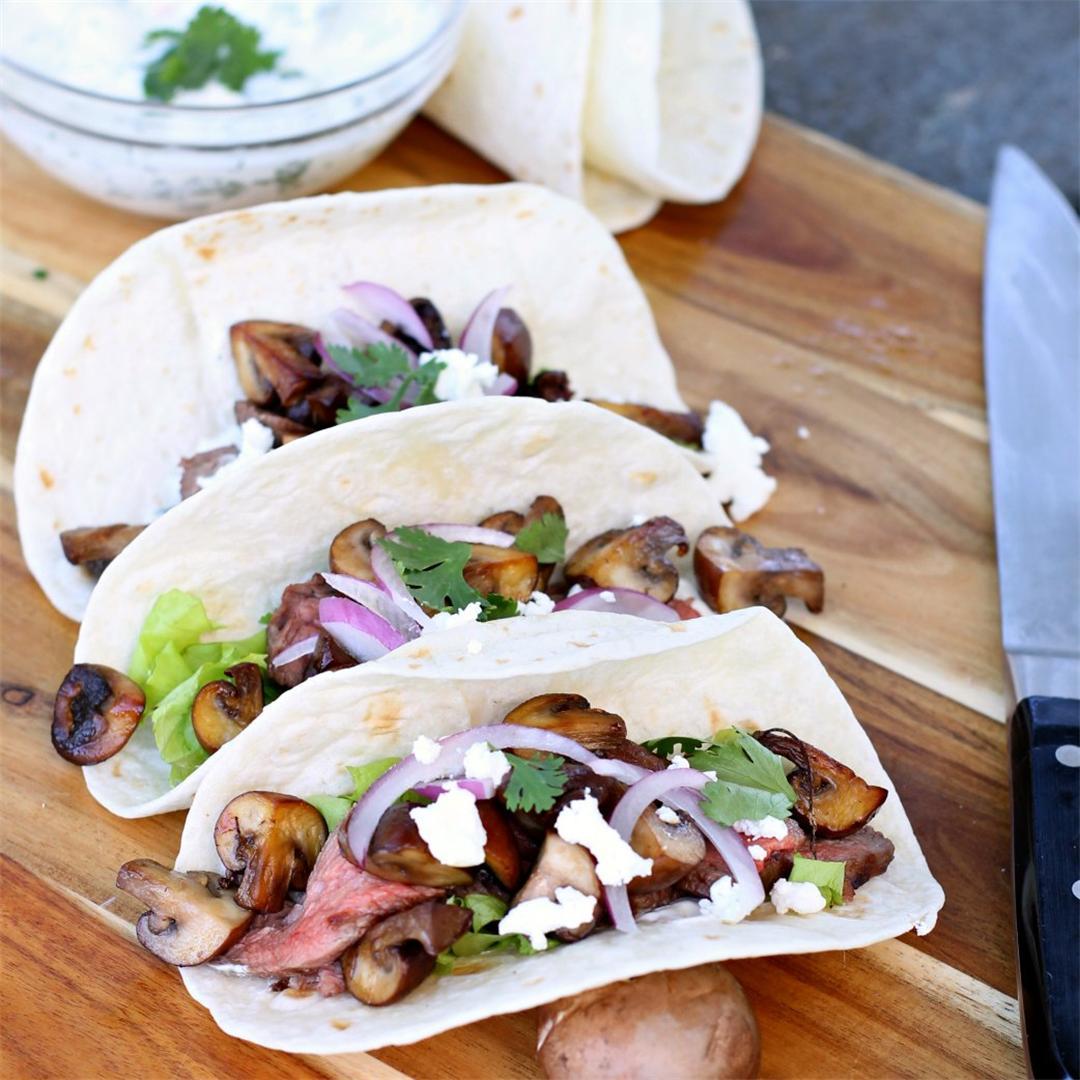 Mushroom and Flank Steak Tacos