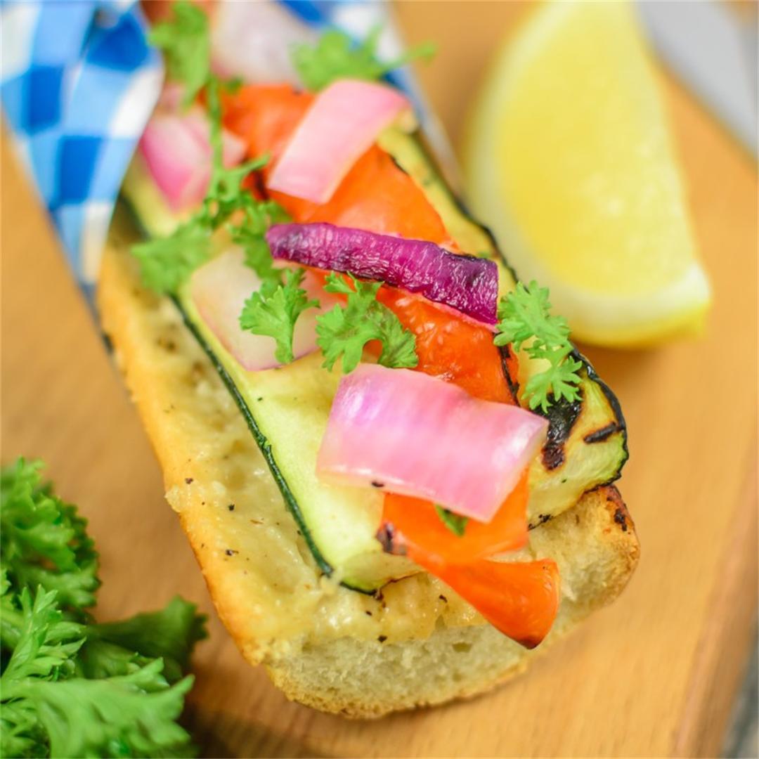 Grilled Caesar Veggie Tartine