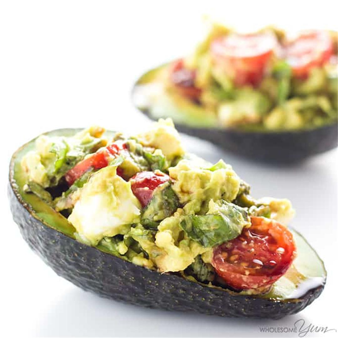 Caprese Stuffed Avocado Recipe (Low Carb, Gluten-Free)