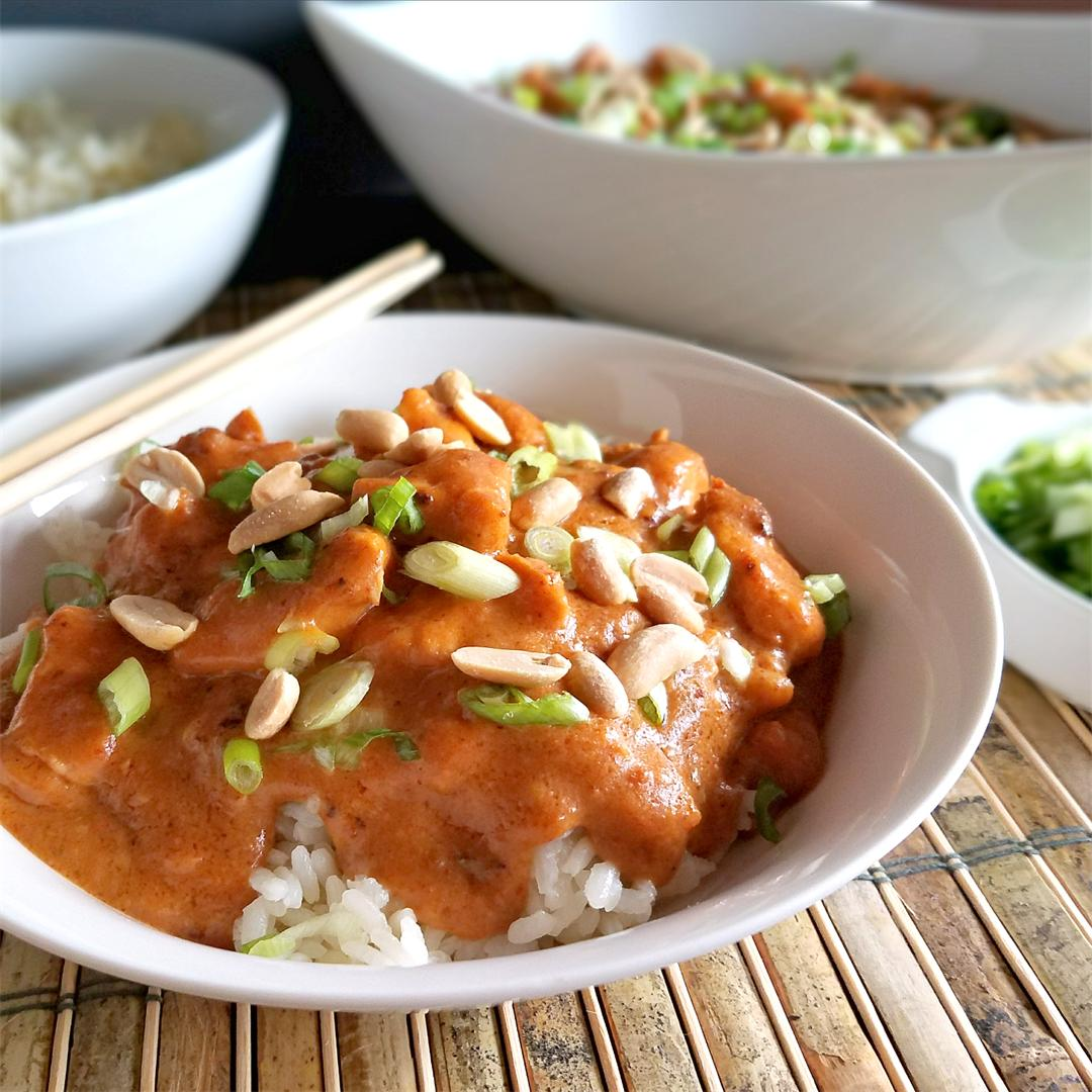 Slow Cooker Thai Peanut Chicken - Gluten-free, Paleo