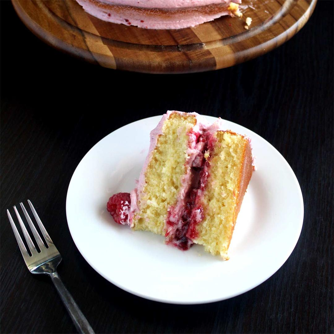 Lemon Raspberry Cake with raspberry jam