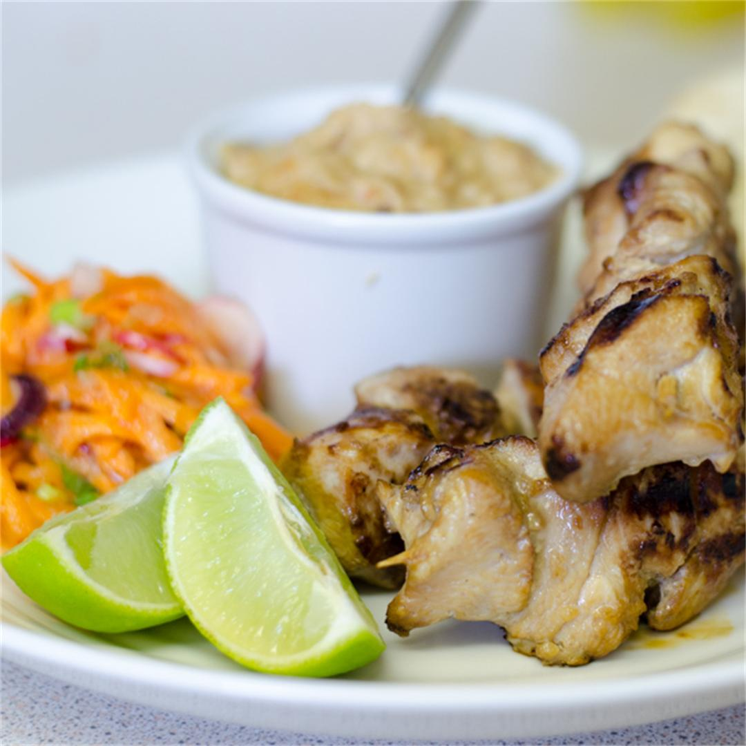 Chicken Satay with Thai Carrot & Radish Salad