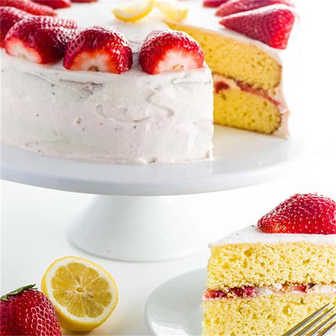 Strawberry Lemonade Cake (Low Carb, Gluten-Free, Sugar-Free)