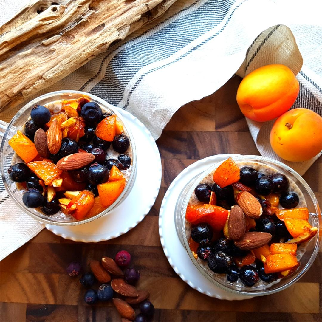 Spiced Chia Pudding with Honeyed Saskatoon Berries & Apricots