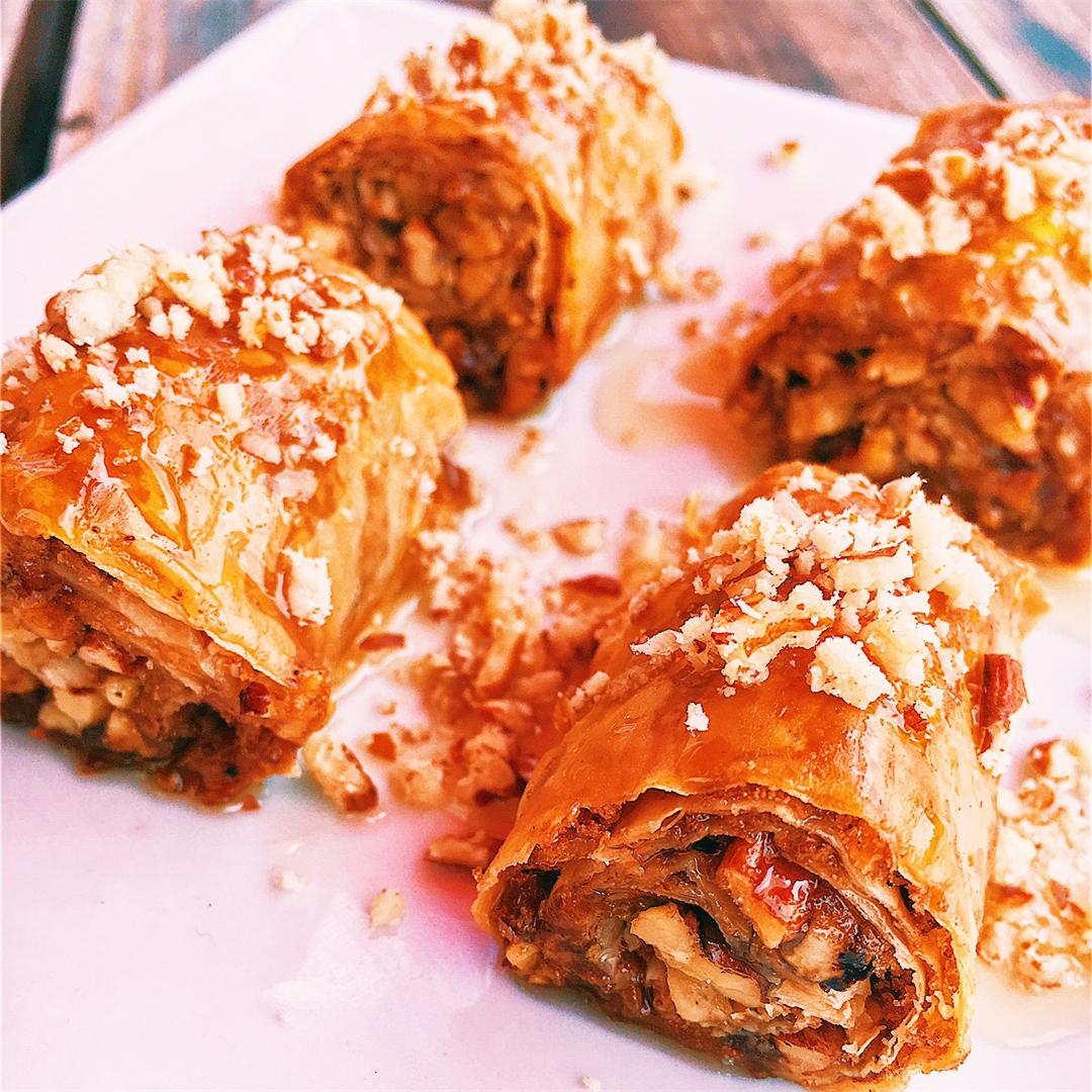Mini Baklava Rolls With Citrus Honey