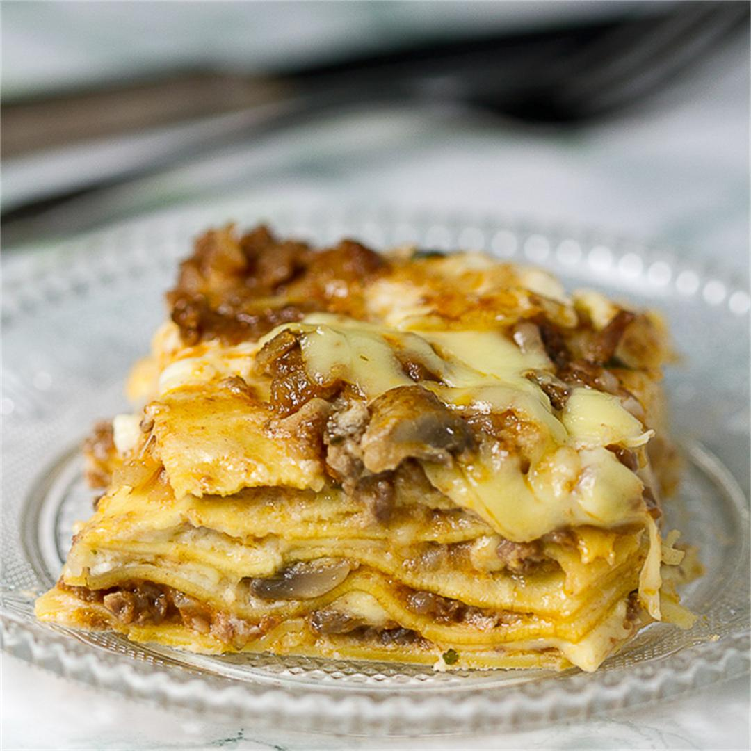 Mushroom Lasagna with Bechamel and Bolognese Sauces