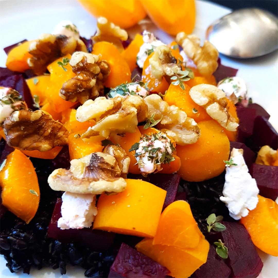 Black Rice Walnut Salad with Apricots, Beets & Fresh Thyme Goat