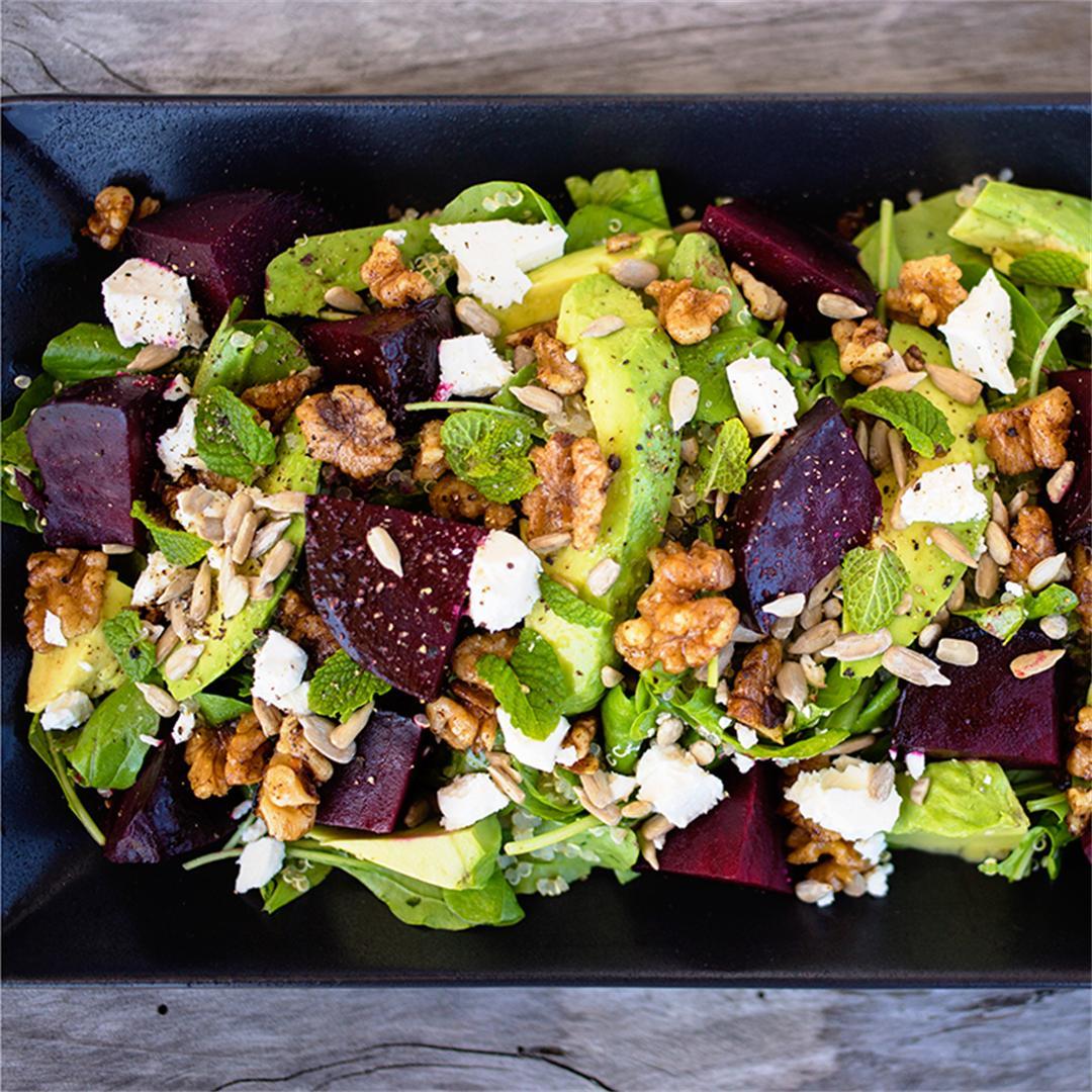 Beetroot & Avocado Quinoa Salad with Spiced Walnuts & Mint