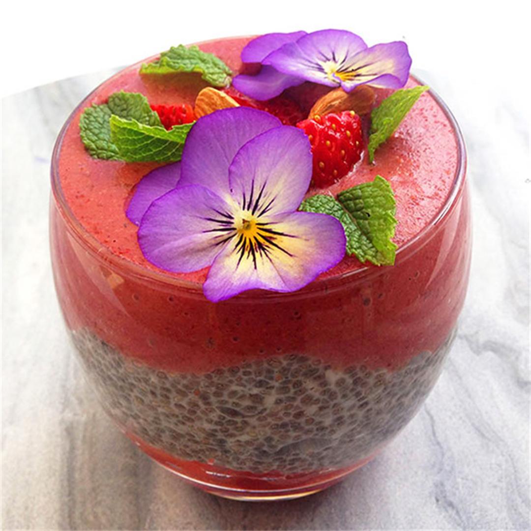 Coconut Chia, Acai & Strawberry Layered Smoothie