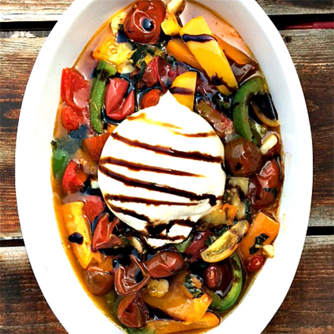 Roasted Veggies With Creamy Burrata Cheese