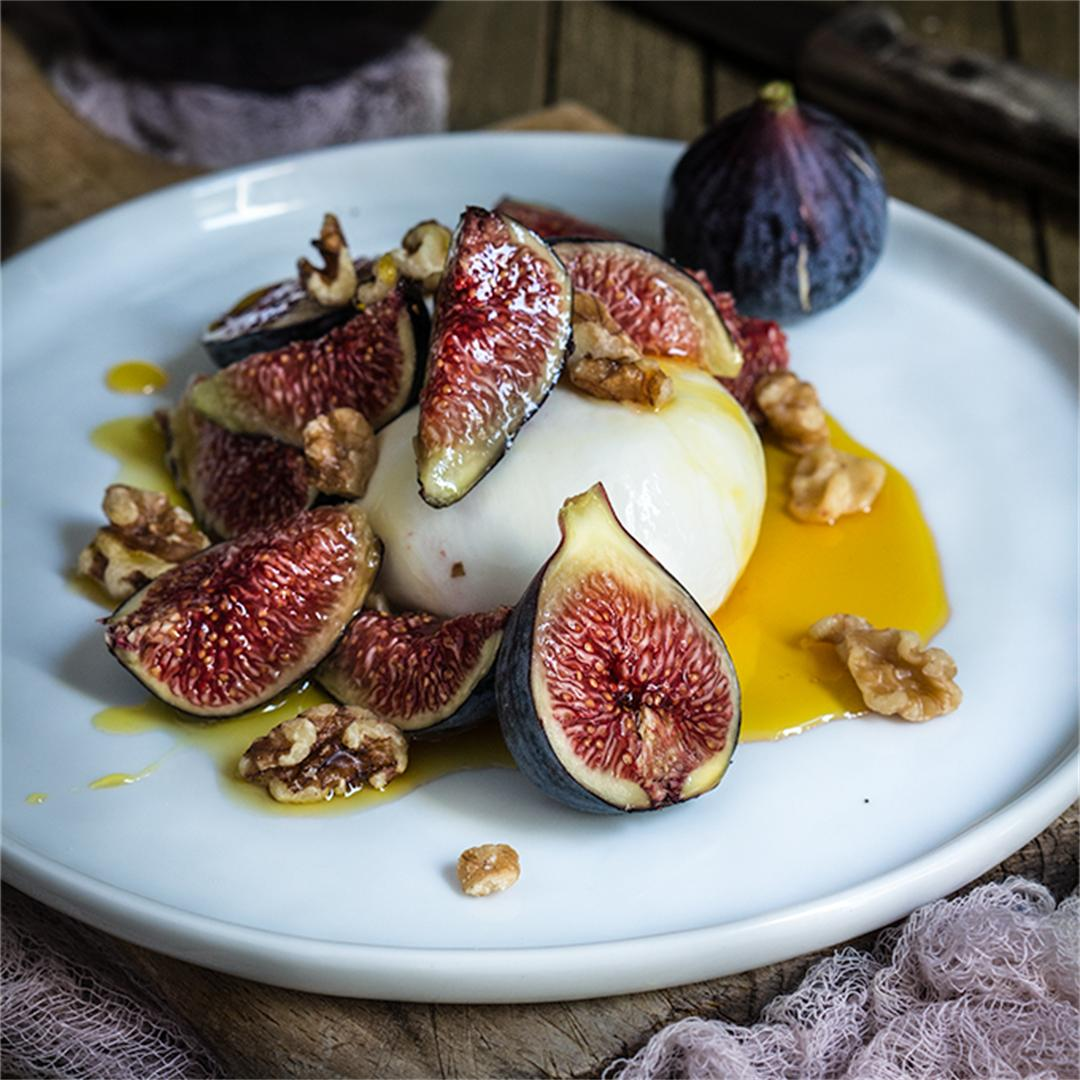 Burrata with figs, honey, and salted walnuts