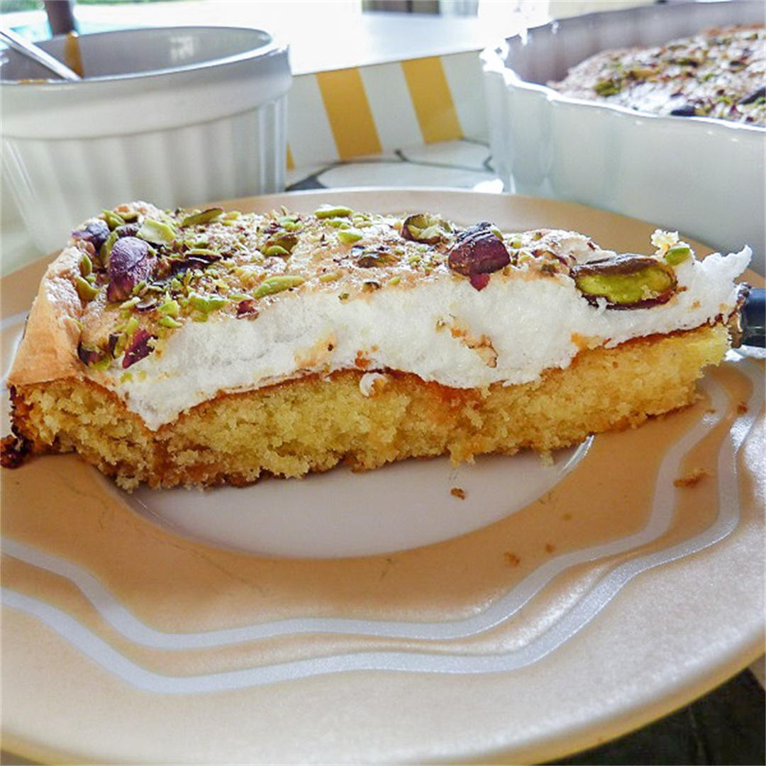 Apricot Jam Cake with Marshmallow Frosting and Pistachio