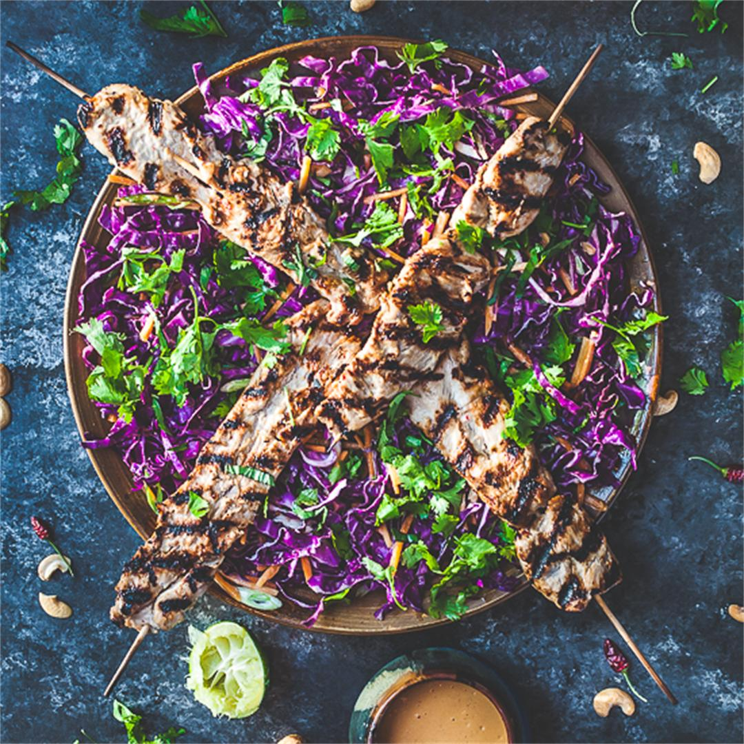 Grilled Turkey Skewers w Asian Slaw & Cashew Sauce