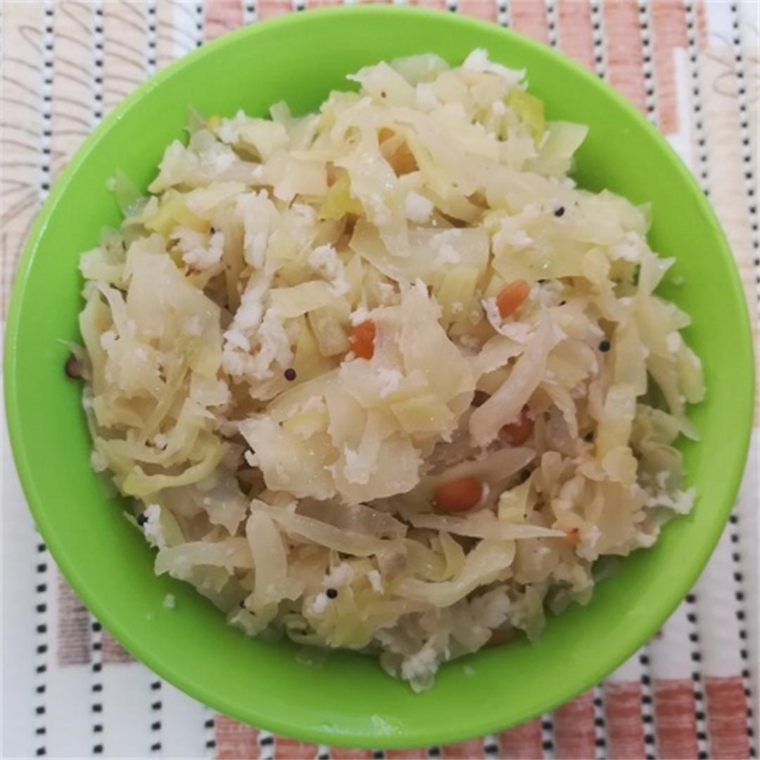 cabbage poriyal recipe (Cabbage Stir Fry)