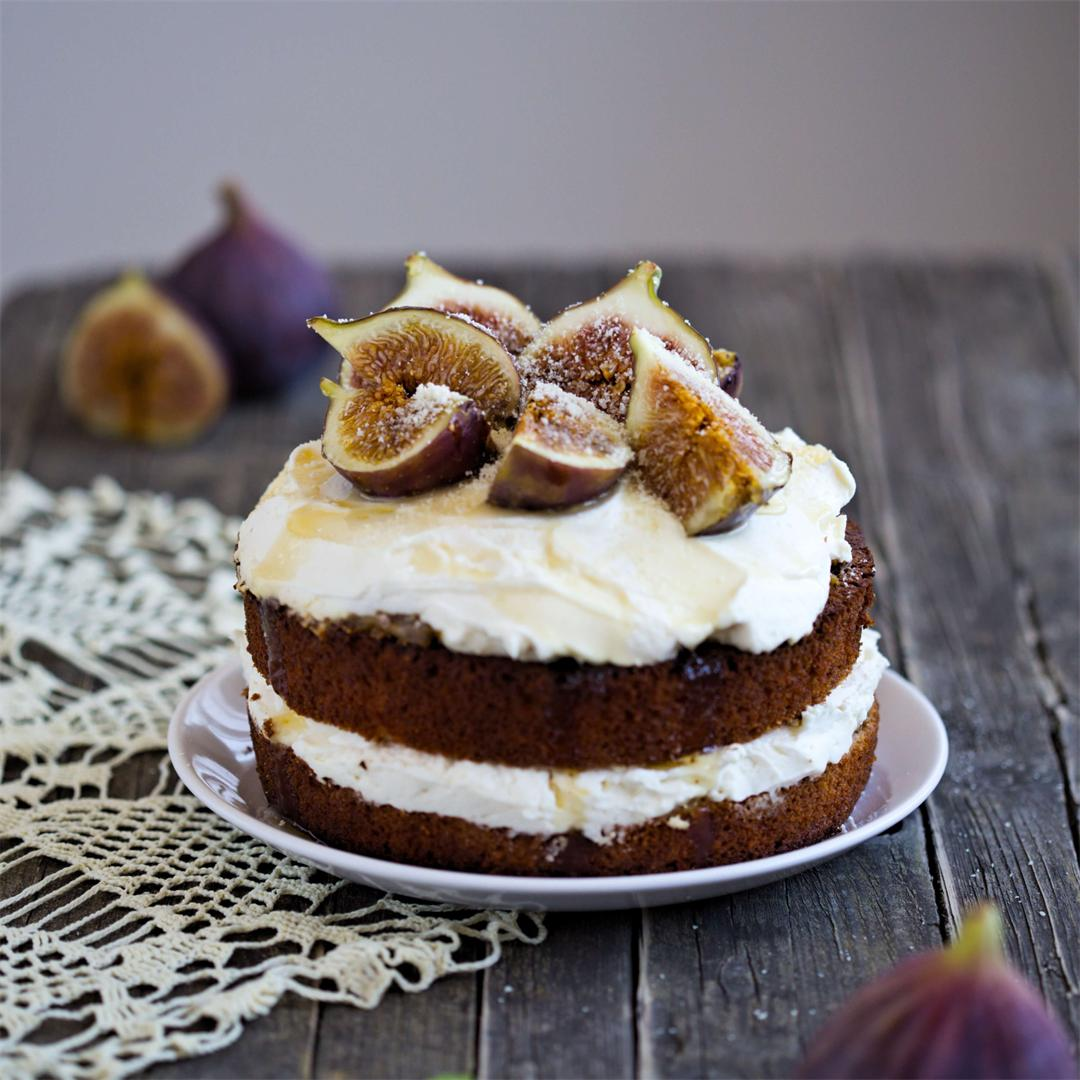 Honey Cake with Ricotta frosting and Figs