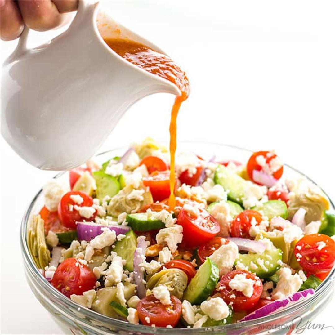 Mediterranean Salad Recipe W/ Sun-Dried Tomato Vinaigrette