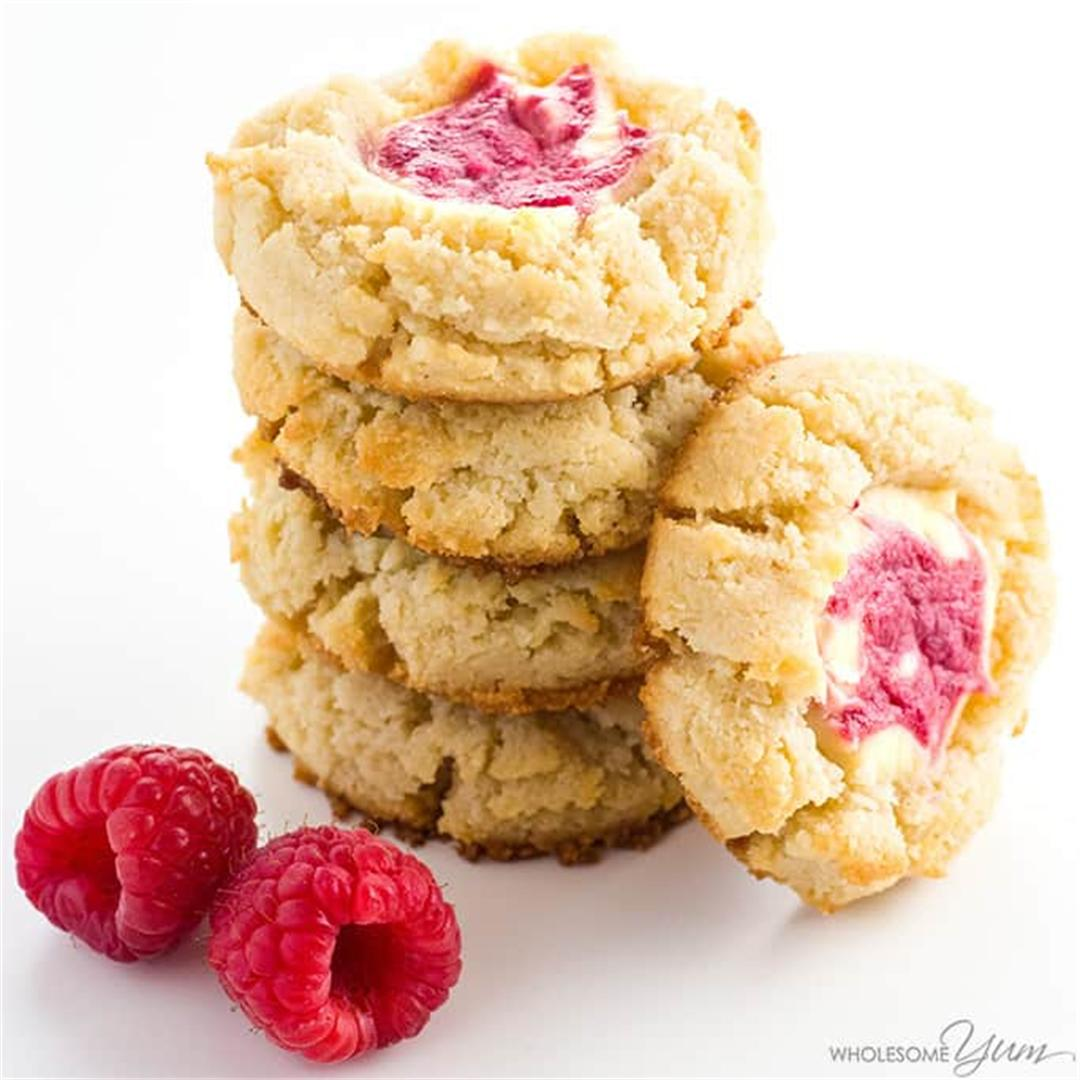 Raspberry Swirl Cheesecake Cookies Recipe (Low Carb, GF)