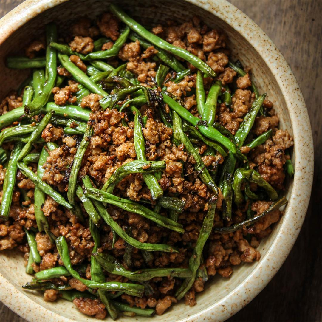 Dry-Fried Long Beans and Minced Pork with Olive Vegetables