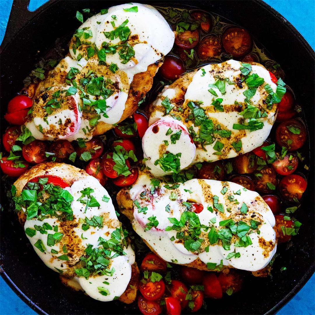 One Skillet Caprese Chicken With Balsamic Glaze