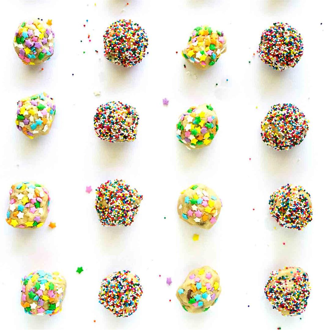 Edible Chocolate Chip Cookie Dough Bites With Sprinkles