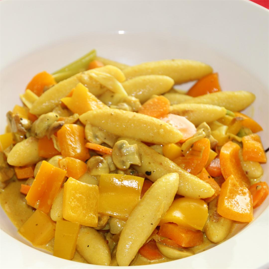 vegetable finger pasta curry