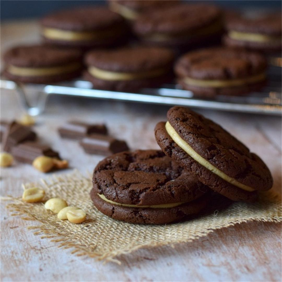 Chocolate and Peanut Butter Sandwich Cookies