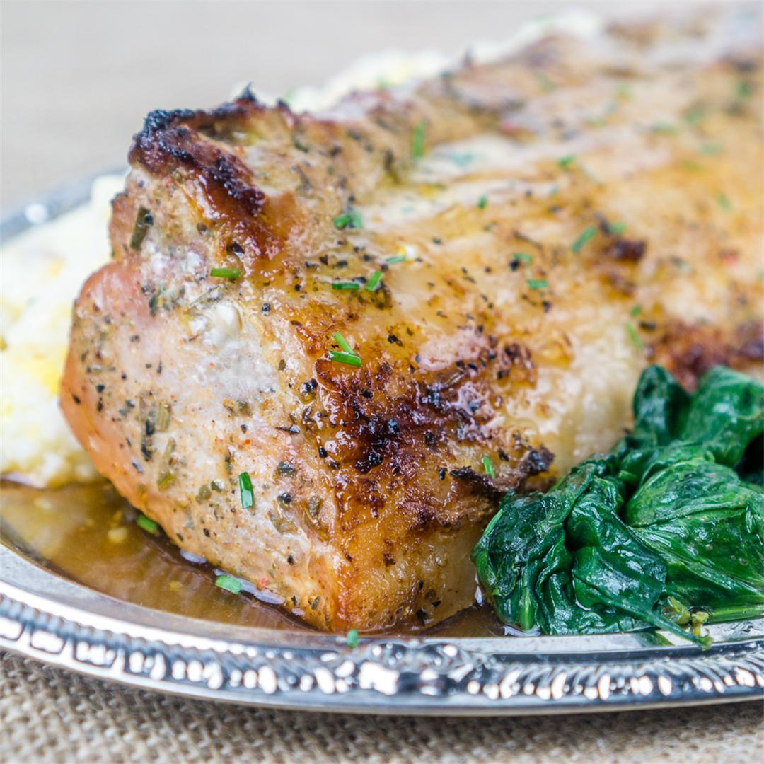 Roasted Pork Loin & Cheesy Grits