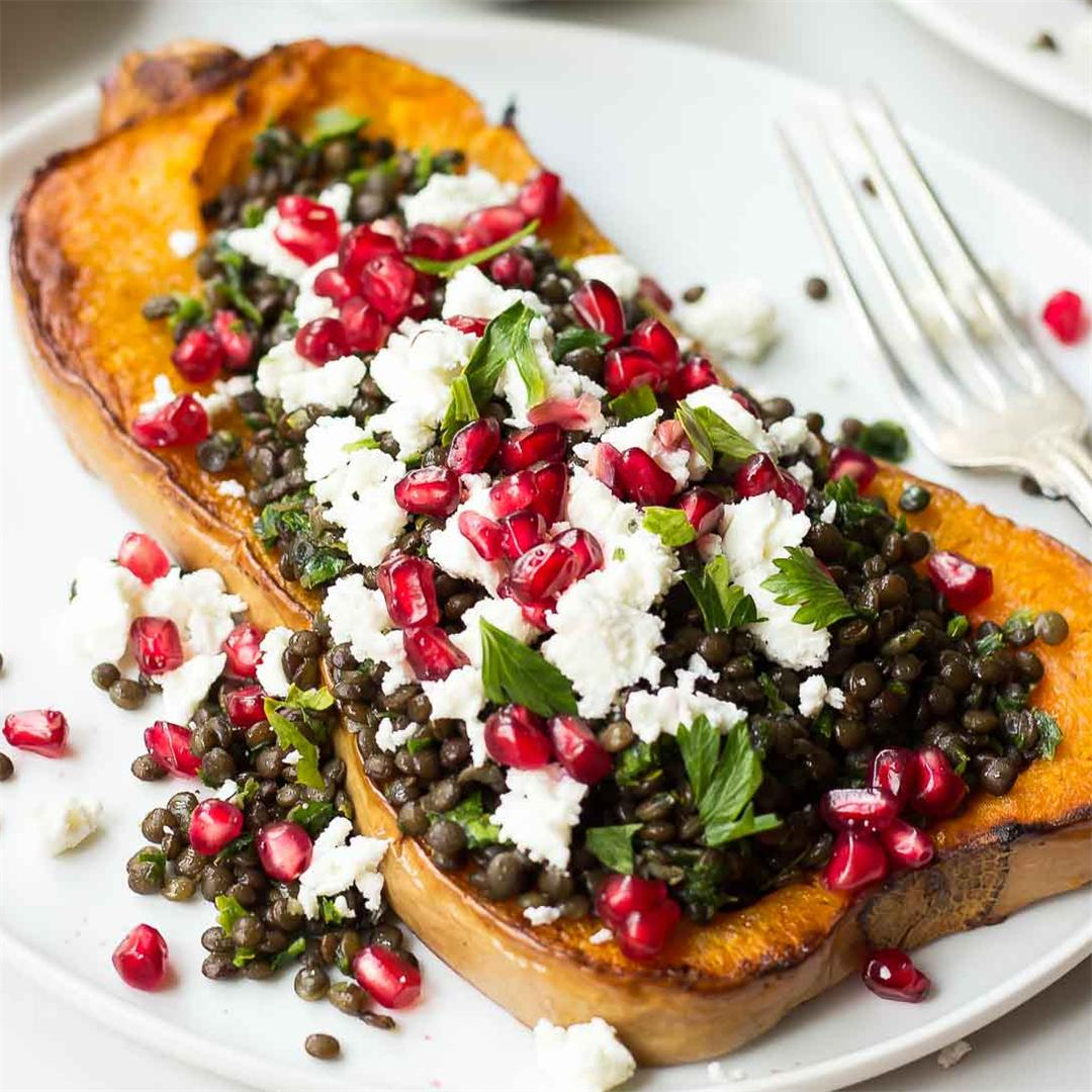 Butternut squash steak with herbed lentils