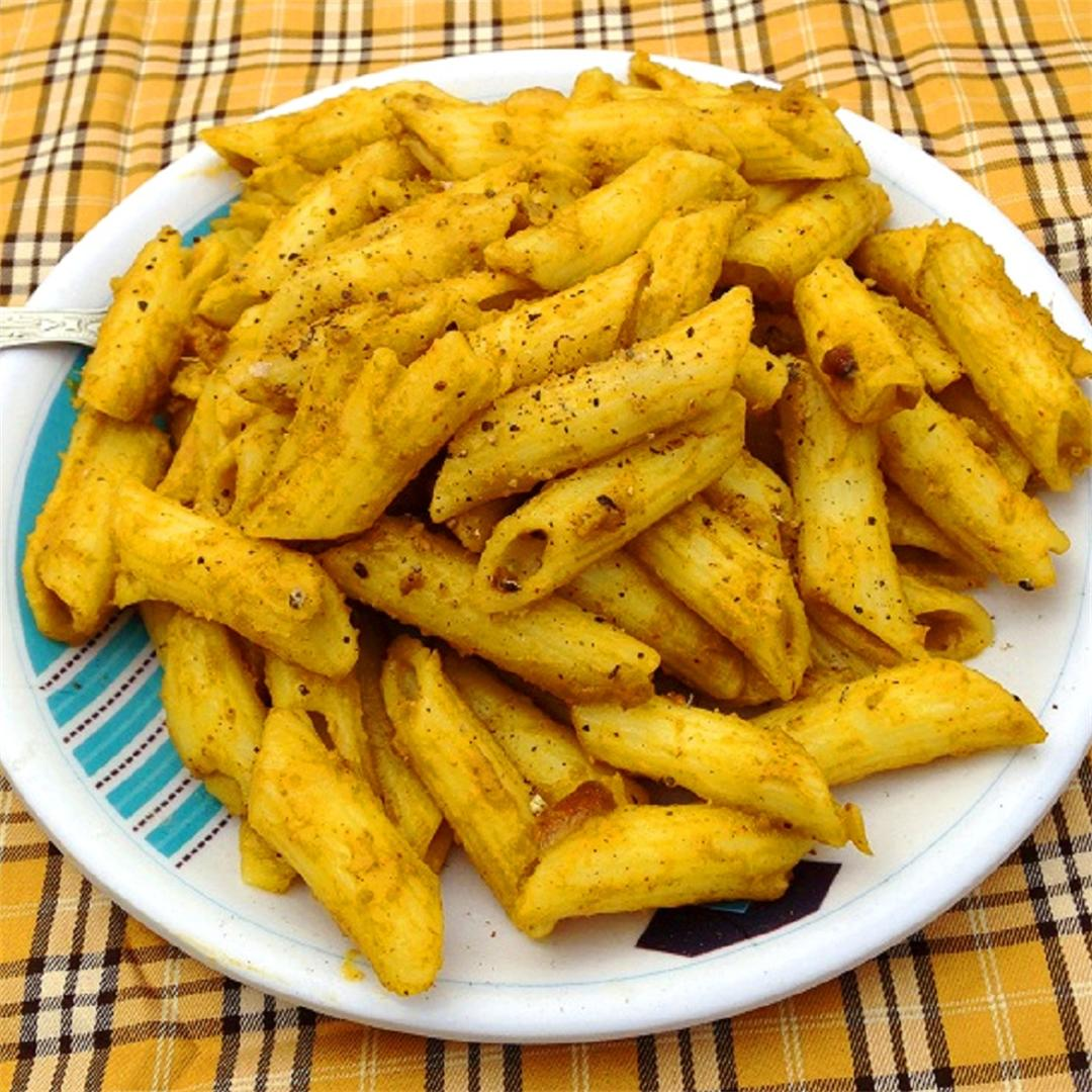 Favorite vegan pasta with vegetable puree and spices