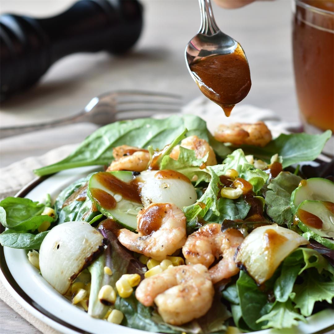 Barbecue Shrimp Salad with Grilled Corn & Vidalia Onions