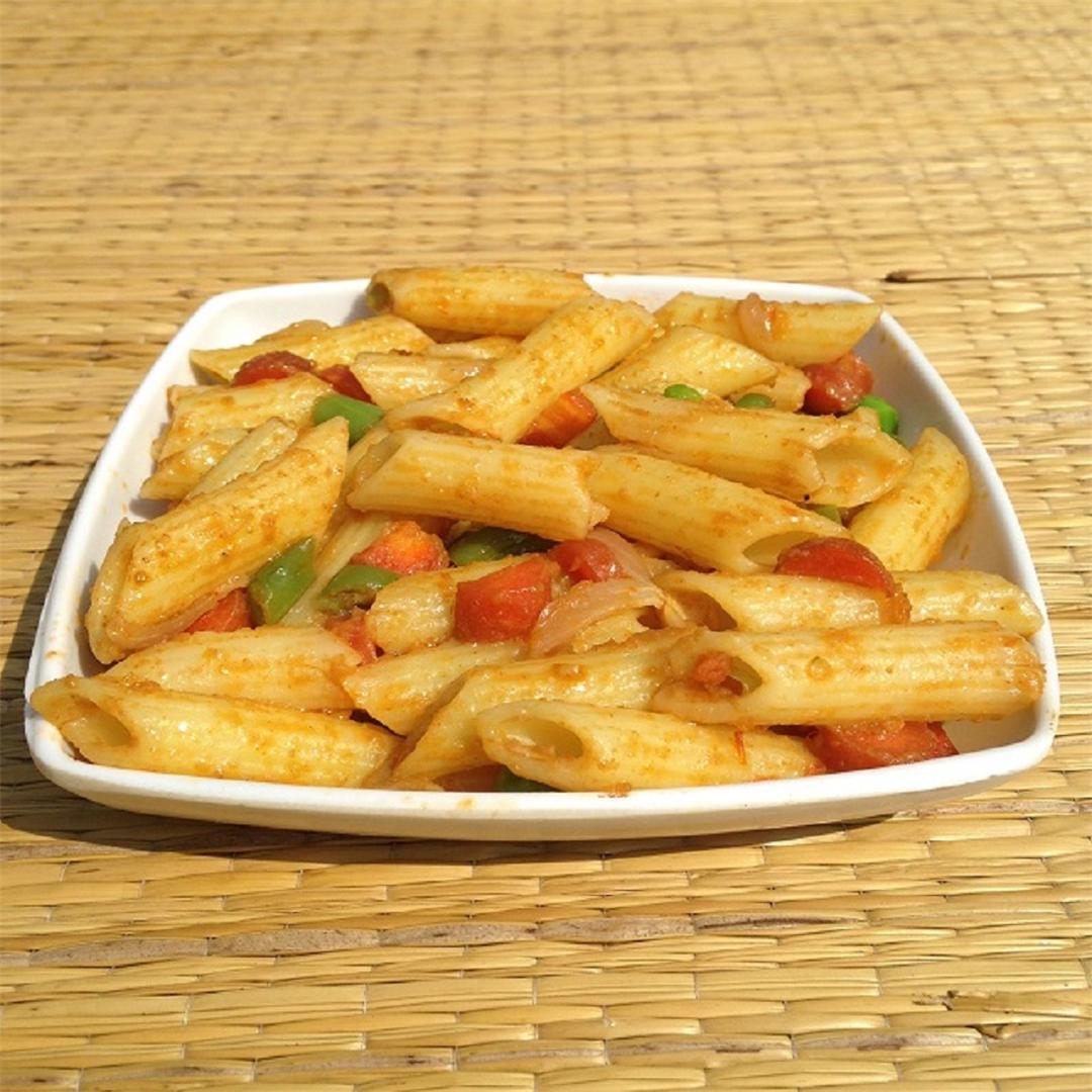 Indian style spicy mixed vegetable pasta