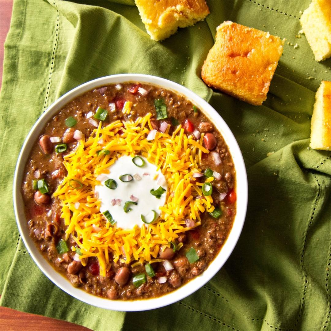 Homemade Instant Pot Chili (Using Dried Beans)