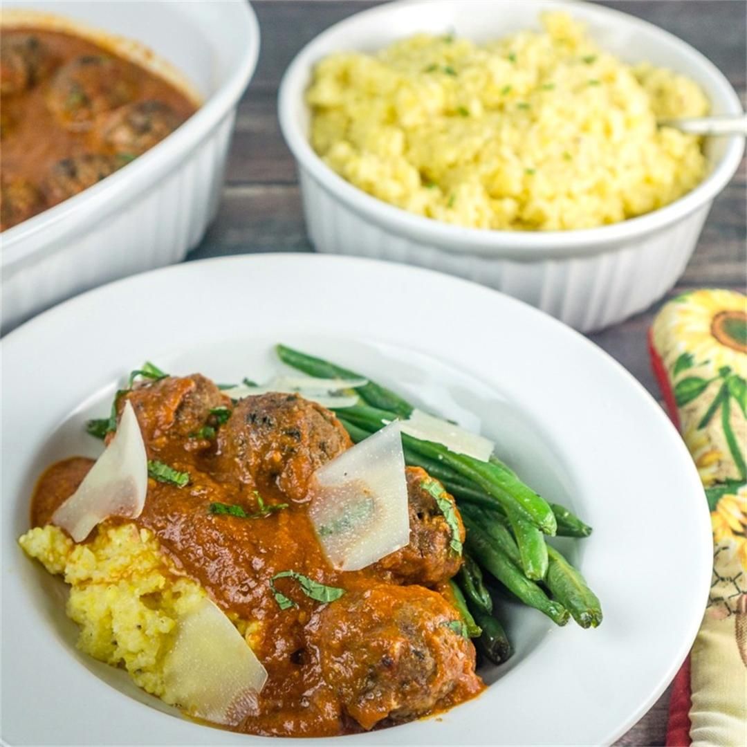 Moroccan Meatballs with Polenta and Green Beans