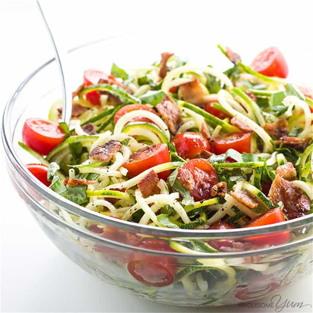 Zucchini Noodle Salad W/ Bacon & Tomatoes (Low Carb, Paleo)
