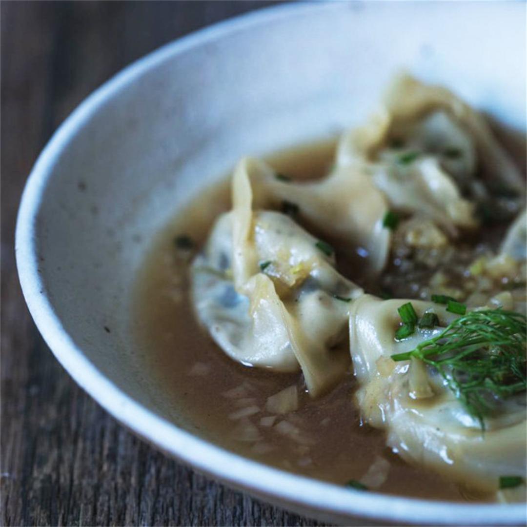 Fennel Infused Mushroom Wonton Soup