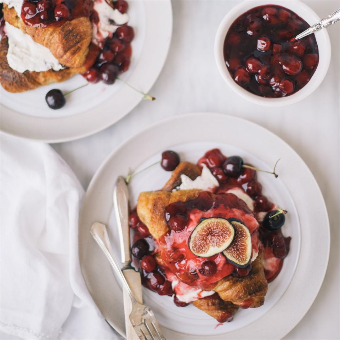 Croissant French Toast With Cherry Sauce & Fig-Honey Ricotta