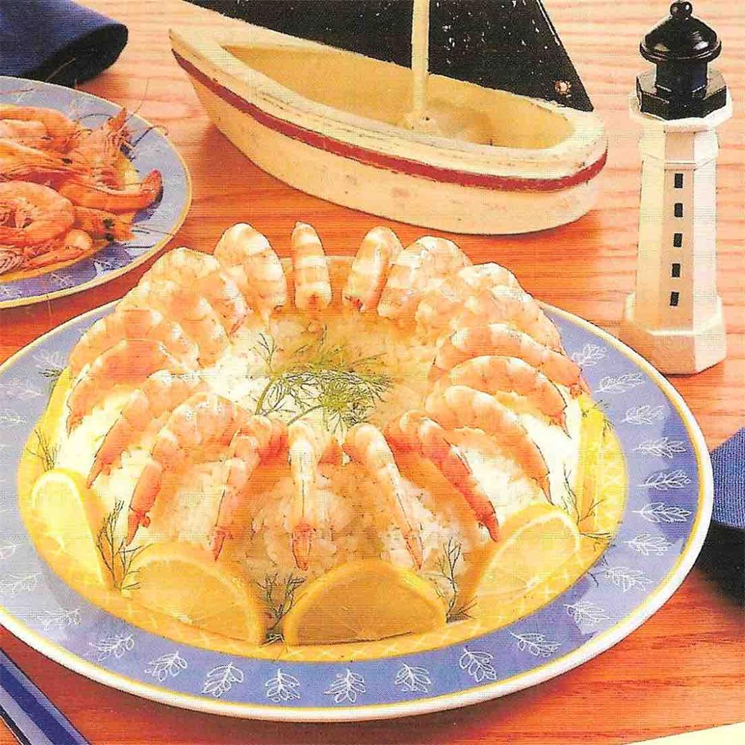 Crown of rice with prawns