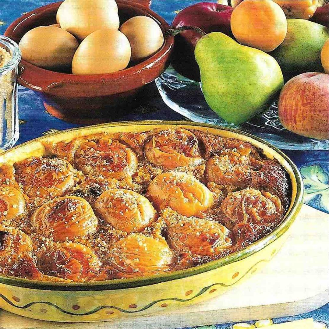 Gratin of fruits with gingerbread